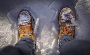 Winter work boots in the snow